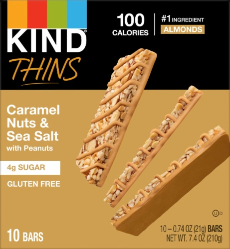 KIND Thins Caramel Almond & Sea Salt Bars Perspective: front