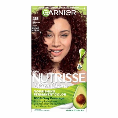 Garnier® Nutrisse® 415 Soft Mahogany Dark Brown Hair Color Perspective: front