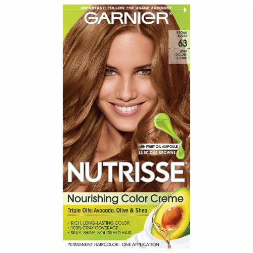 Garnier Nutrisse 63 Light Golden Brown Nourishing Color Creme Hair Color Perspective: front