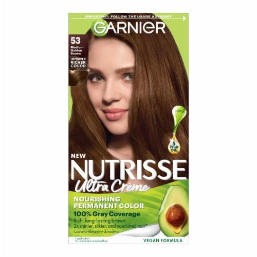 Garnier Nutrisse Nourishing Color Creme Chestnut 53 Medium Golden Brown Hair Color Perspective: front