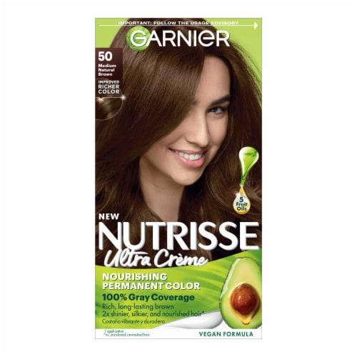 Garnier Nutrisse 50 Medium Natural Brown Nourishing Color Creme Hair Color Perspective: front