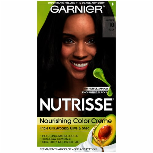 Garnier Nutrisse Nourishing Color Creme 10 Licorice Black Hair Color Perspective: front