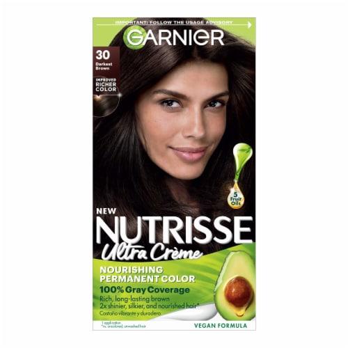 Garnier Nutrisse 30 Darkest Brown Nourishing Color Creme Hair Color Perspective: front