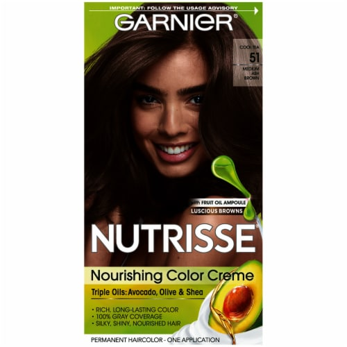 Garnier Nutrisse 51 Medium Ash Brown Hair Color Perspective: front
