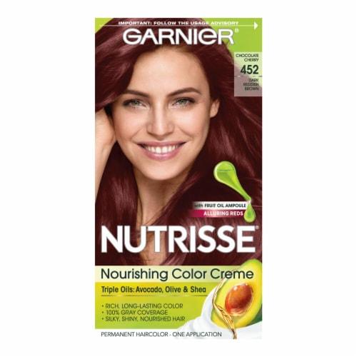 Garnier Nutrisse 452 Dark Reddish Brown Hair Color Perspective: front