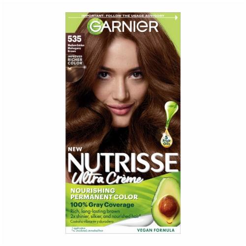 Garnier Nutrisse 535 Medium Golden Mahogany Brown Nourishing Color Creme Hair Color Perspective: front