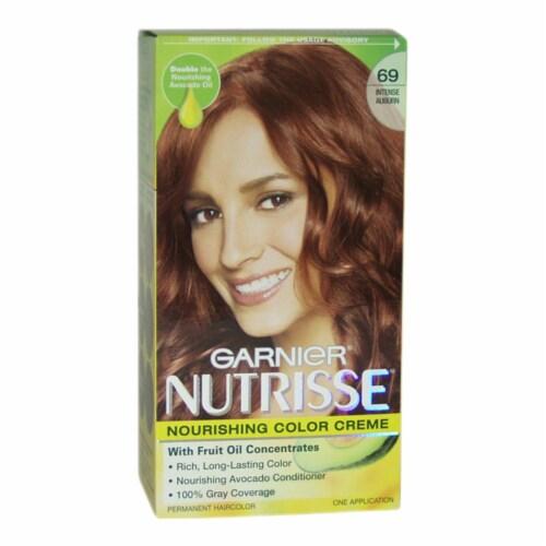 Garnier Nutrisse Nourishing Color Creme  #69 Intense Auburn Hair Color 1 Application Perspective: front
