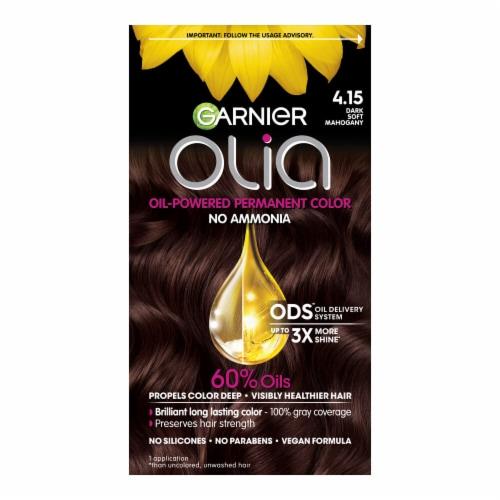 Garnier Olia Oil Powered 4.15 Dark Soft Mahogany Permanent Hair Color Perspective: front