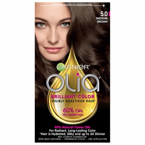 Garnier Olia Brillant Color 5.0 Medium Brown Hair Color Perspective: front