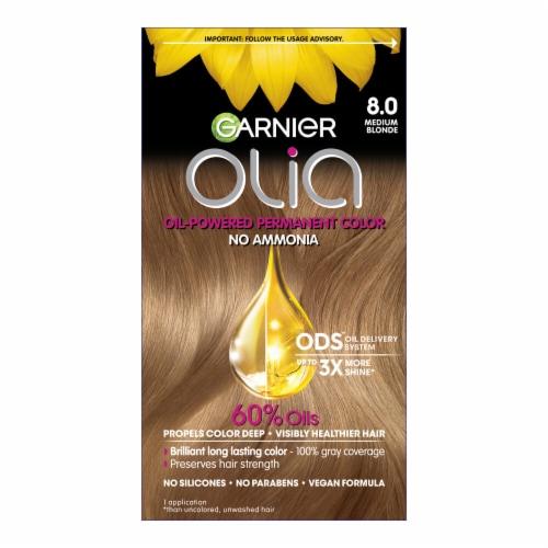 Garnier Olia Brilliant Color 8.0 Medium Blonde Permanent Hair Color Perspective: front