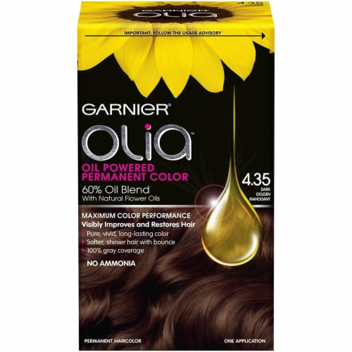 Garnier Olia 4.35 Dark Golden Mahogany Hair Color Perspective: front