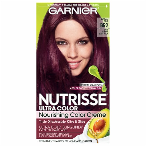 Garnier Nutrisse Ultra Color BR2 Dark Intense Burgundy Nourishing Color Creme Hair Color Perspective: front