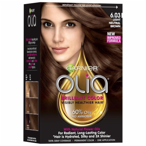Garnier Olia 6.03 Light Neutral Brown Hair Color Perspective: front