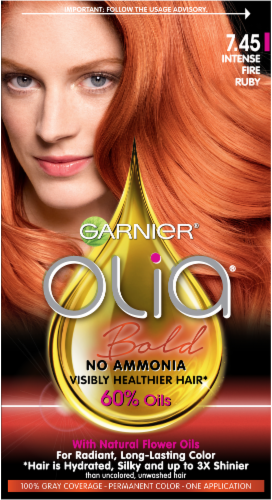 Garnier Olia Bold Intense Fire Ruby 7.45 Hair Color Perspective: front