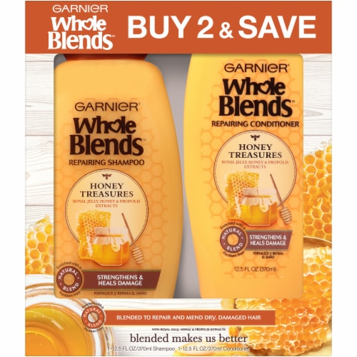 Garnier Whole Blends Honey Treasures Shampoo and Conditioner Set Perspective: front