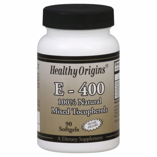 Healthy Origins 100% Natural Mixed Tocopherols E-400 Softgels Perspective: front