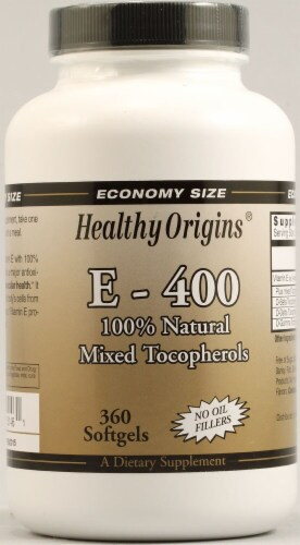 Healthy Origins E-400 Supplement Perspective: front