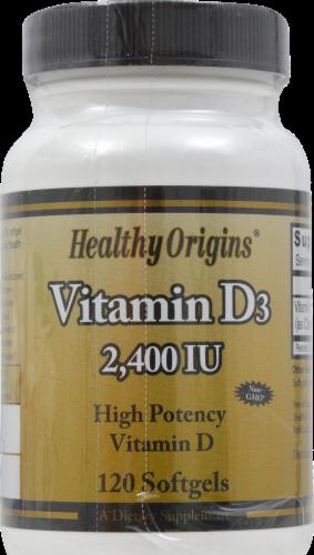 Healthy Origins Vitamin D3 Softgels Supplements Perspective: front