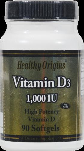 Healthy Origins Vitamin D3 1000IU Supplement Perspective: front