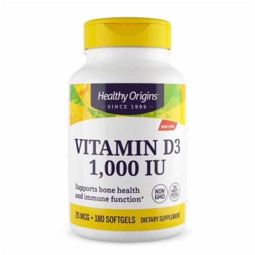 Healthy Origins Vitamin D3 - 1000 IU - 180 softgels - Pack of 3 Perspective: front