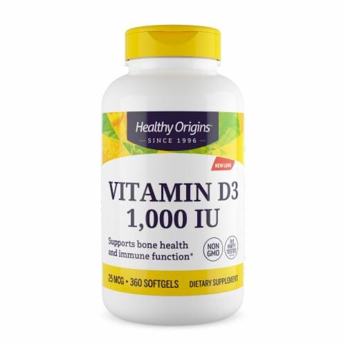 Healthy Origins Vitamin D3 - 1000 IU - 360 softgels Perspective: front