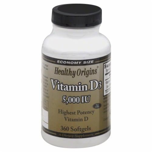 Healthy Origins Vitamin D3 5000 IU Supplement Perspective: front