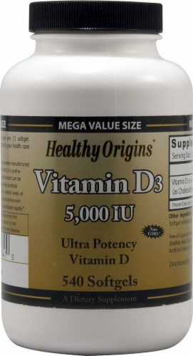 Healthy Origins Vitamin D3 Supplement Perspective: front