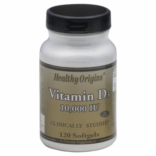 Healthy Origins Vitamin D3 10000 IU Supplement Perspective: front