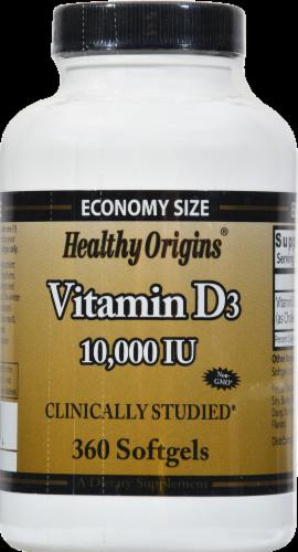 Healthy Origins Vitamin D3 10000 IU Softgels Supplement Perspective: front