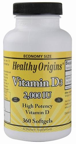 Healthy Origins Vitamin D3 Supplement Perspective: front