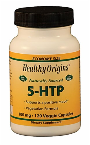 Healthy Origins Naturally Sourced 5-HTP 100mg Veggie Capsules Perspective: front