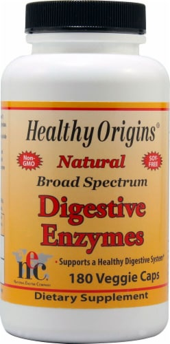 Healthy Origins  Broad Spectrum Digestive Enzymes Perspective: front