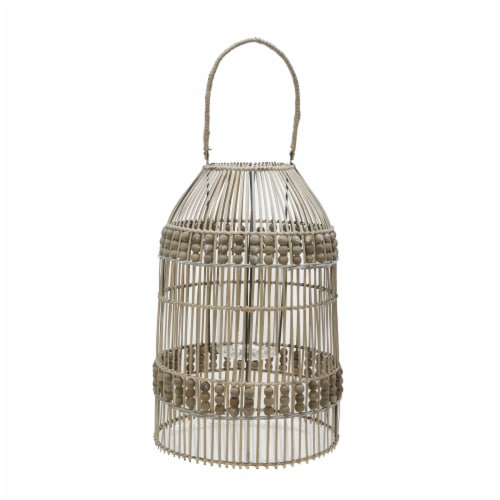 25 H Rattan Lantern, Brown Perspective: front