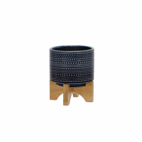 6  Dotted Planter W/ Wood Stand, Blue Perspective: front