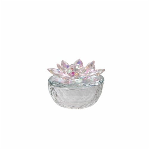 Glass Trinket Box Clear W/Blush Lotus Top Perspective: front