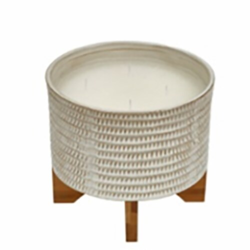 7  ,1 Wick Citronella Candle On Stand, Beige Perspective: front