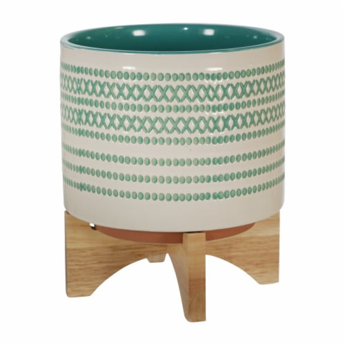 Ceramic 8  Planter On Stand W/ Dots, Turquoise Perspective: front