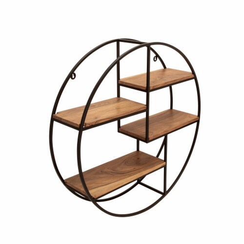 Metal/Wood 29  Round Wall Shelf, Brown Perspective: front