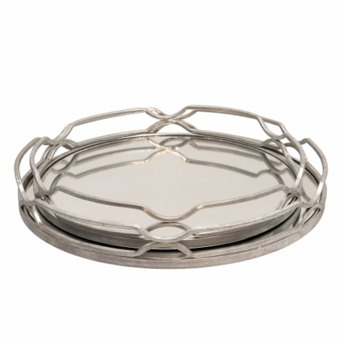 S/2 Metal 18/16  Round Trays, Silver Leaf Perspective: front