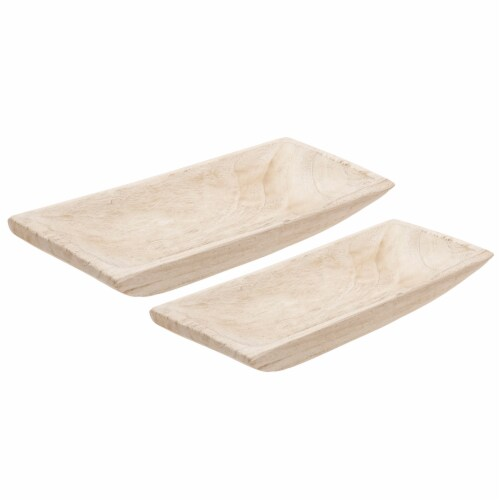 S/2 Wood Rectangular Tray, White Perspective: front