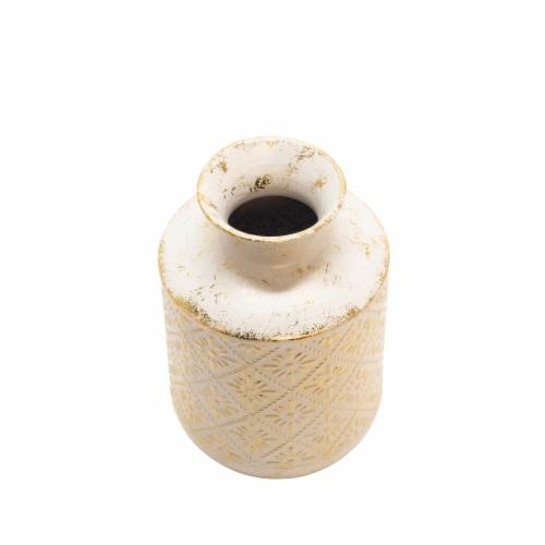 Metal  10  Deco Tribal Jar, Antique White Perspective: front