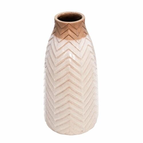 18  Chevron Vase, Ivory Perspective: front