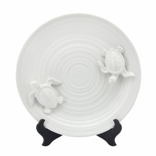Ceramic 14  Decorative Plate W/ Turtles, White Perspective: front