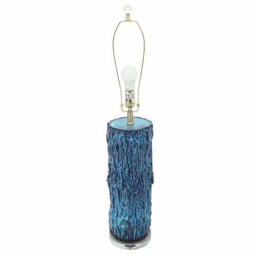 Ceramic 36.25  Log Table Lamp, Blue Perspective: front