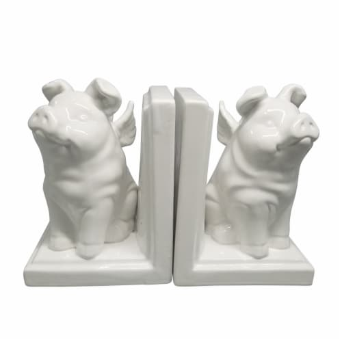 S/2 7  Winged Pigs Bookends, White Perspective: front
