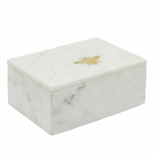 Marble 7X5 Marble Box W/ Bee Accent White Perspective: front