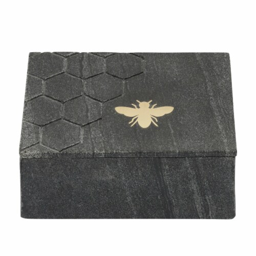 Marble 7X5 Marble Box W/ Bee Accent, Black Perspective: front