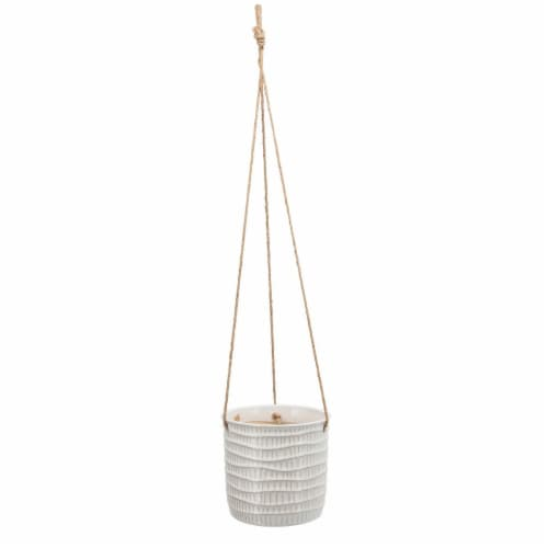 7 , Tribal Hanging Planter, White Perspective: front