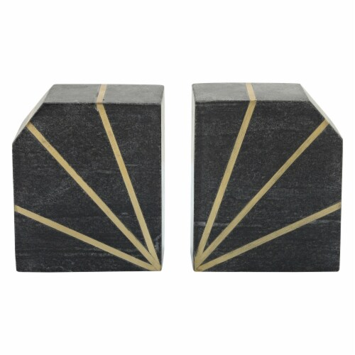 S/2Marble 5 H Polished Bookends W/Gold Inlays, Blk Perspective: front