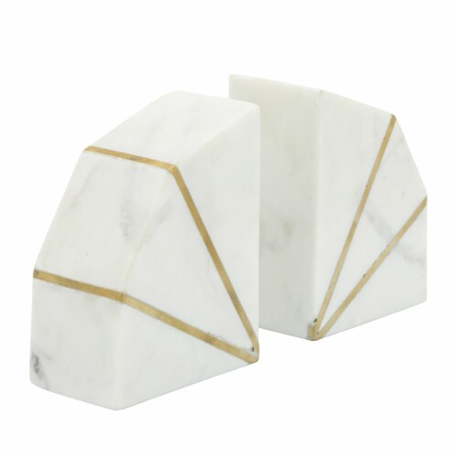 S/2 Marble 4 H Accent Bookends W/Gold Inlays,Wht Perspective: front
